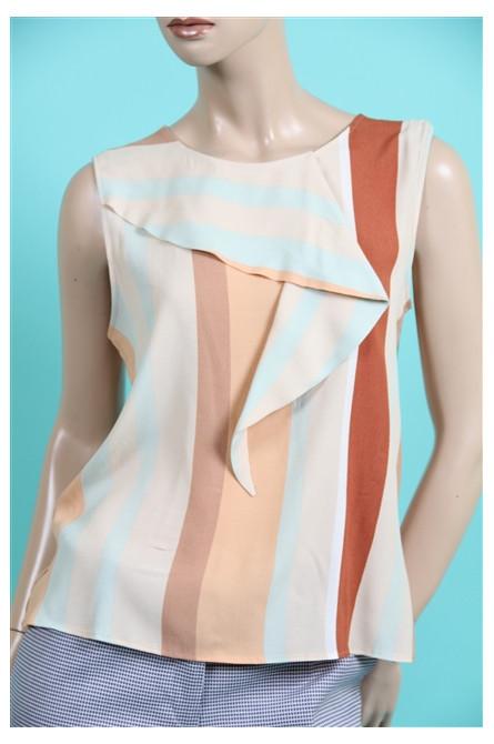 blouse sans manches rayée ice cream sinequanone rauyure beige et turquoise