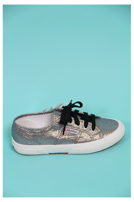 baskets lamé argent superga argent