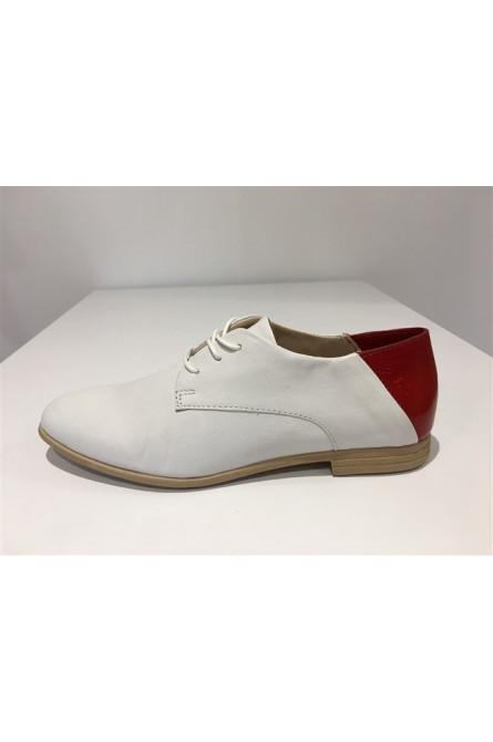 derbys mjus blanc/rouge