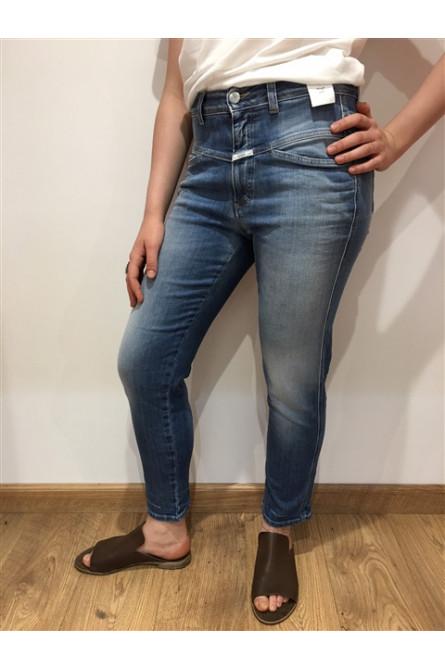 jeans pedal pusher  closed bleu délavé