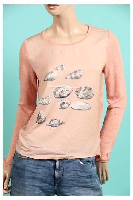 t-shirt manche longue maison scotch saumon