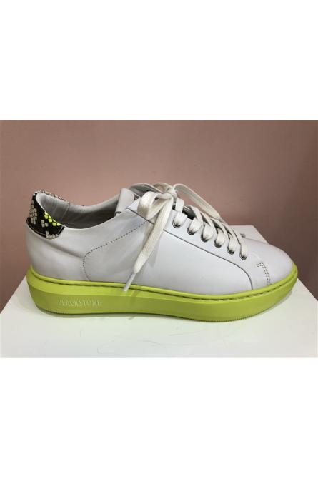 baskets blackstone blanc/jaune fluo