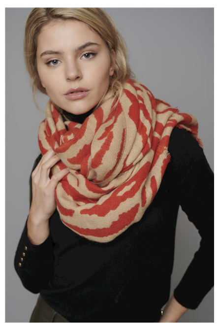 foulard rino pelle zebré rouge